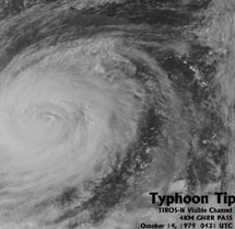 Typhoon Tip, satellite overhead image