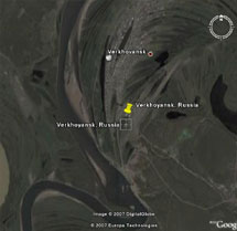 Verkhoyansk, Russia [67°33'N, 133°23'E, elevation 107 m (350 ft)]